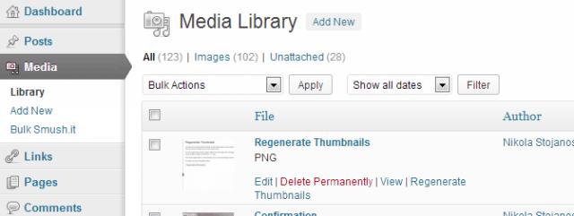 Individual Regenerate Thumbnails