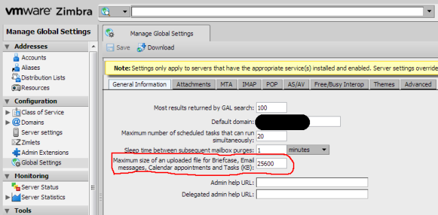 Zimbra Maximum size of an uploaded file