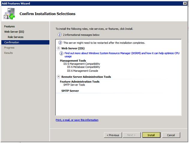 Windows 2008 Install SMTP