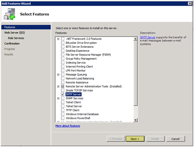 Windows 2008 Select SMTP feature