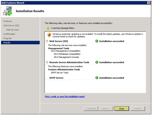 Windows 2008 SMTP installing complete