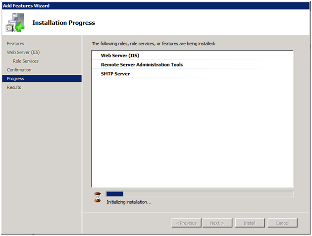 Windows 2008 SMTP installing progres